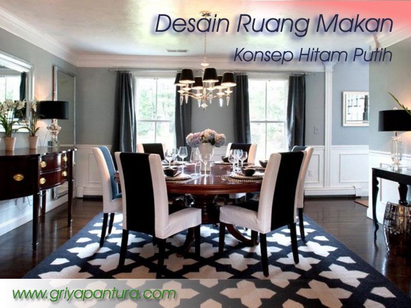 Desain Ruang Makan dengan Konsep Hitam Putih Griya Pantura